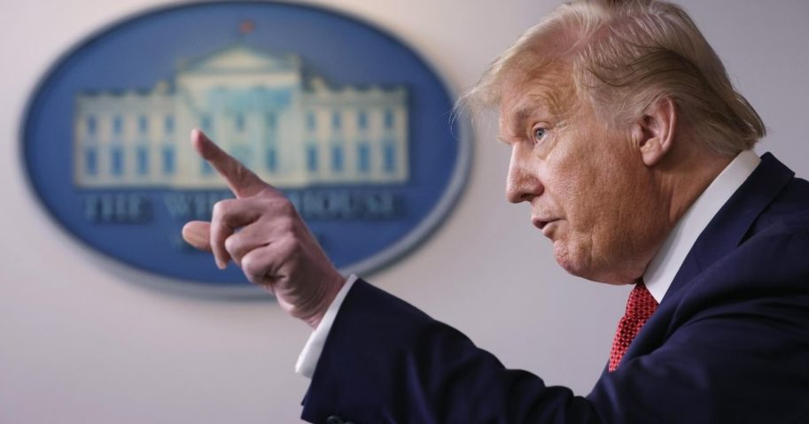 President Donald Trump speaks during a news conference at the James Brady Press Briefing Room of the White House on Aug. 10, 2020, in Washington, D.C.