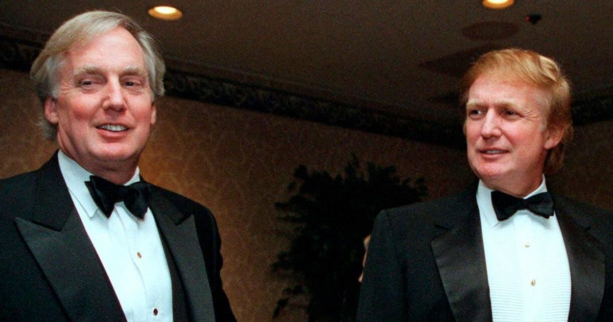 In this Nov. 3, 1999, file photo, Robert Trump, left, joins then-real estate developer Donald Trump at an event in New York.