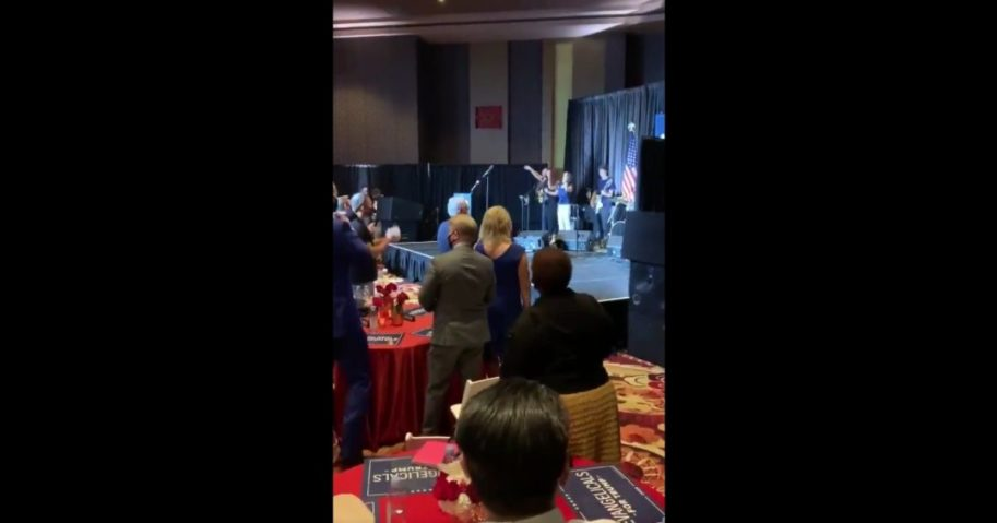 """""""Evangelicals for Trump"""" gathered Thursday at the Ahern Hotel and Convention Center in Las Vegas."""