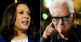 Sen. Kamala Harris, left, and actor James Woods, right.