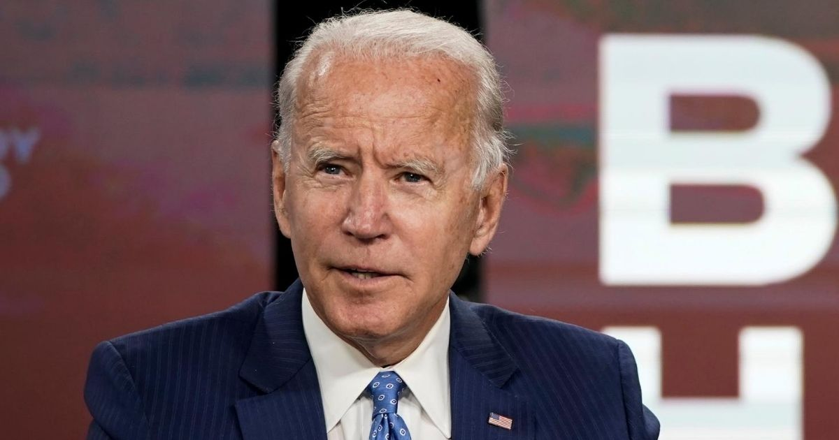 Democratic presidential nominee former Vice President Joe Biden speaks before signing required documents for receiving the Democratic nomination for president at the Hotel DuPont on Aug. 14, 2020, in Wilmington, Delaware.