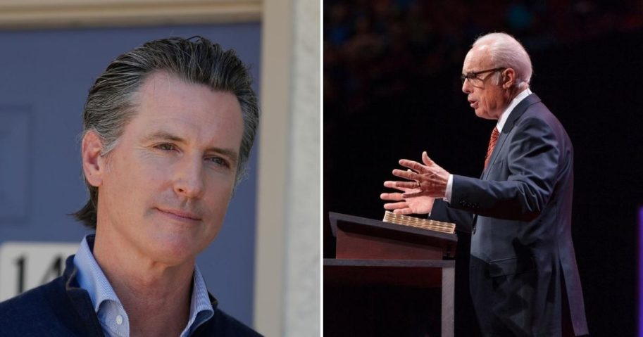 Pastor John MacArthur, right, has won the latest legal battle in his fight with California Gov. Gavin Newsom, left, to keep Grace Community Church open amid coronavirus-related restrictions in the state.