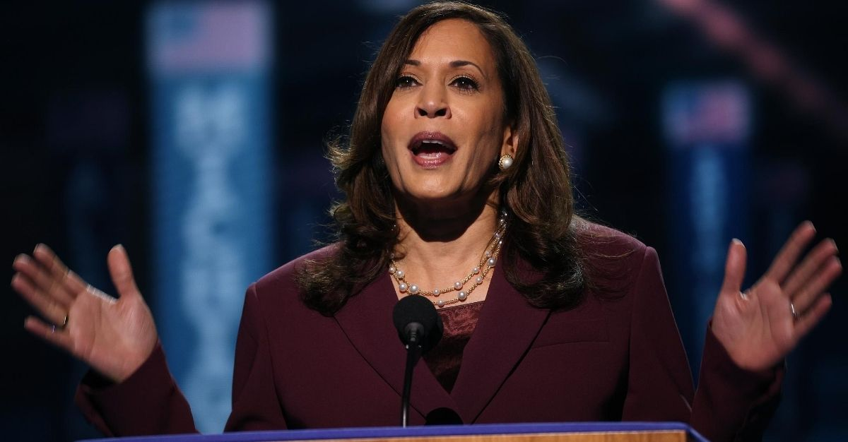 Democratic vice presidential nominee U.S. Sen. Kamala Harris speaks on the third night of the Democratic National Convention on Aug. 19, 2020.