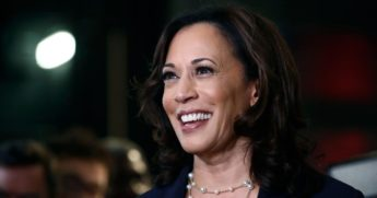 In this June 27, 2019, file photo, then-Democratic presidential candidate Sen. Kamala Harris listens to questions after the Democratic primary debate hosted by NBC News at the Adrienne Arsht Center for the Performing Art in Miami.
