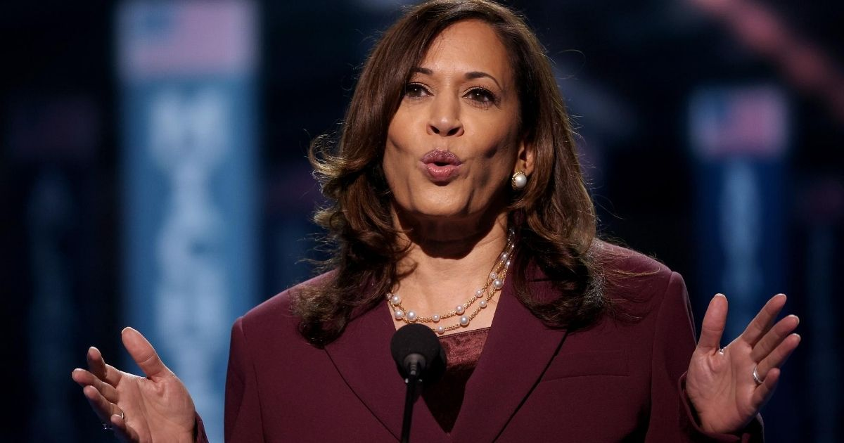 Democratic vice presidential nominee Sen. Kamala Harris of California speaks on the third night of the Democratic National Convention from the Chase Center on Aug. 19, 2020, in Wilmington, Delaware.