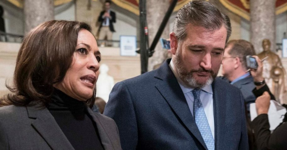 Sens. Kamala Harris of California and Sen. Ted Cruz of Texas walk through Statuary Hall to the House Chamber in Washington for the State of the Union address on Feb. 4, 2020.