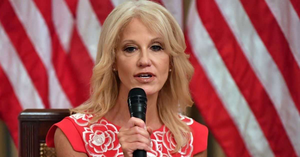 White House counselor Kellyanne Conway speaks in the State Room of the white House in Washington on Aug. 12, 2020.