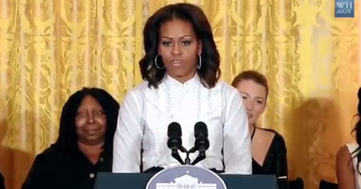 Then-first lady Michelle Obama is pictured in 2013 giving a speech in the White House that praised now-imprisoned Hollywood movie producer Harvey Weinstein.