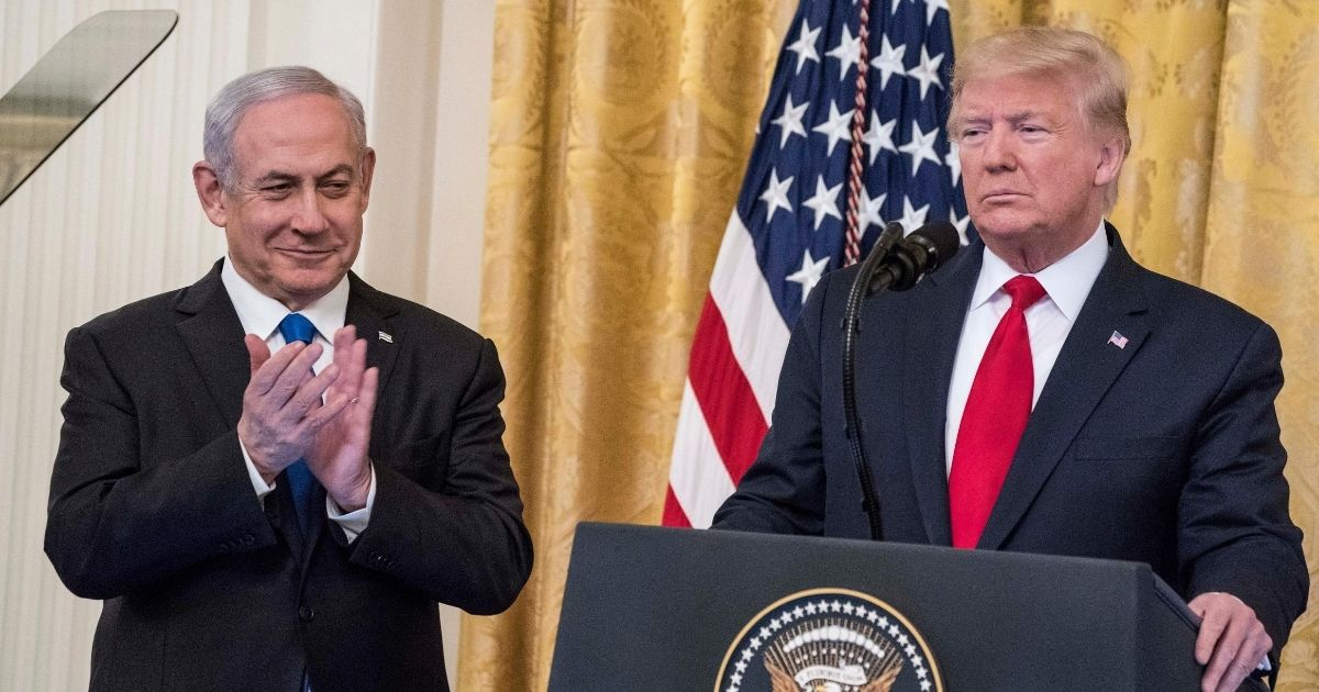 President Donald Trump and Israeli Prime Minister Benjamin Netanyahu announce the Trump administration's plan to resolve the Israli-Palestinian conflict on January 28, 2020, in Washington, DC.