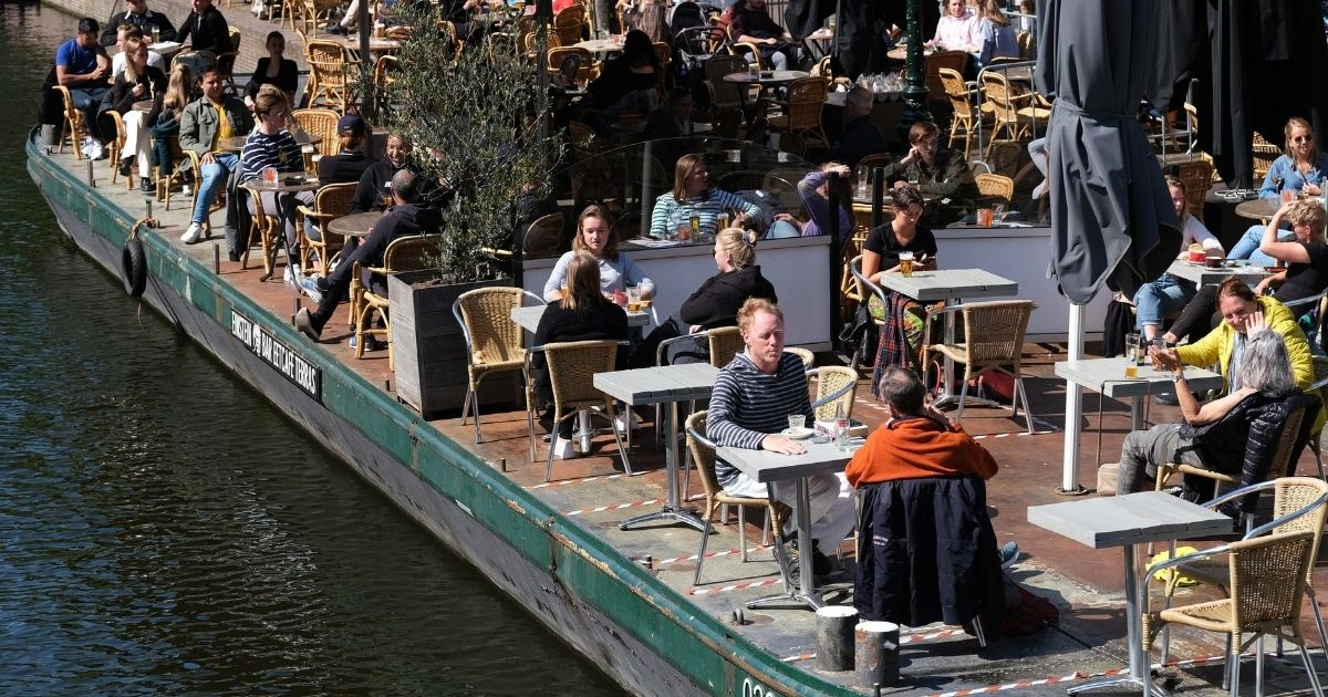 People eating in the Netherlands.'