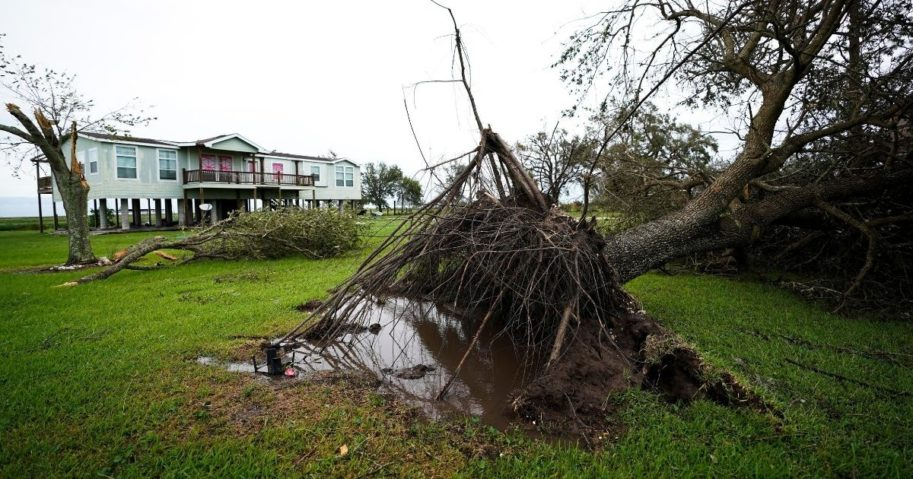 A tree is uprooted in the aftermath of Hurricane Laura on Aug. 27, 2020, in Sabine Pass, Texas.