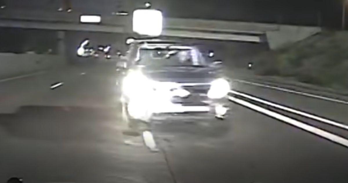 A car seen moments before smashing into a police cruiser.