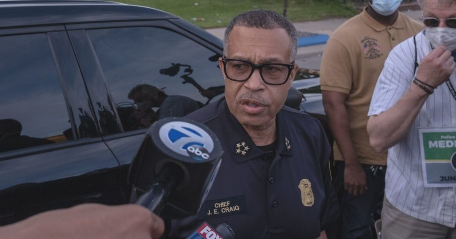 Detroit Police Chief James Craig, pictured speaking at the scene of a June 3 protest.