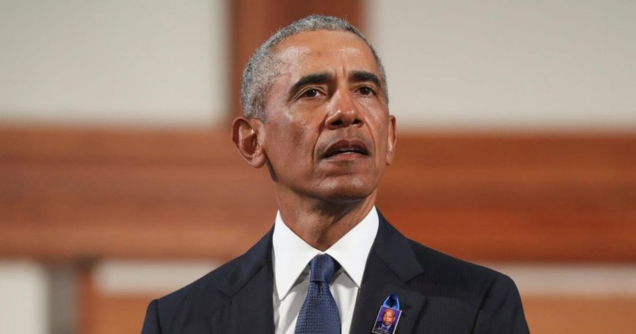Former President Barack Obama speaks during the funeral service of the late Democratic Rep. John Lewis of Georgia at Ebenezer Baptist Church on July 30, 2020, in Atlanta.