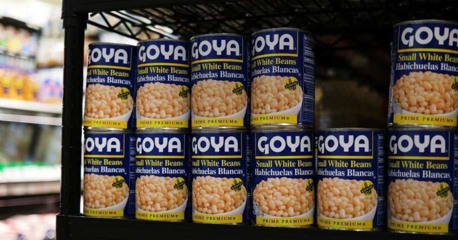Cans of Goya food products are displayed on a shelf in a store on July 16, 2020, in New York City.