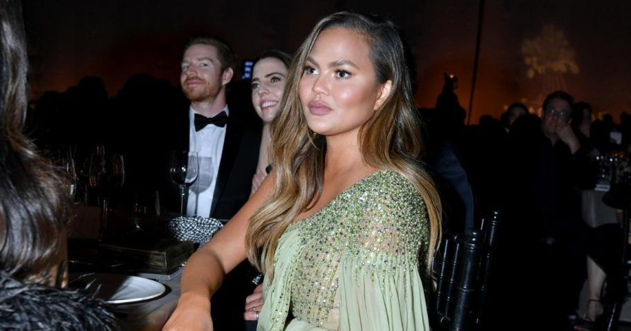 Model Chrissy Teigen is pictured in a file photo from fundraiser for the anti-poverty group Baby2Baby in Los Angeles in 2019.
