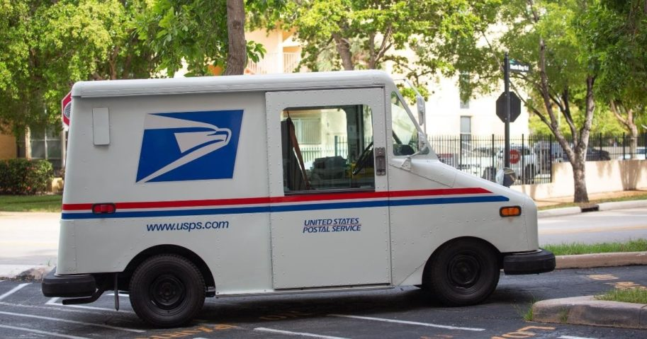 A United States Postal Service vehicle is parked in Sunny Isles Beach, Florida.