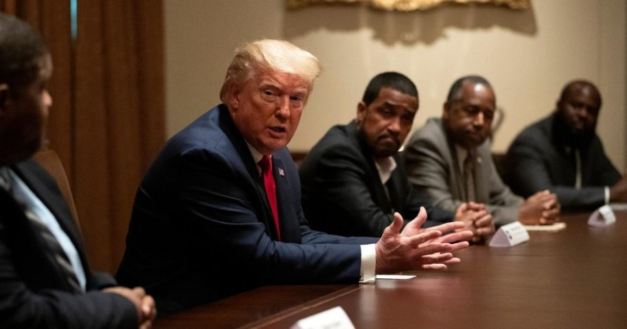 President Donald Trump speaks during a roundtable discussion with African-American supporters in the Cabinet Room of the White House on June 10, 2020, in Washington, D.C.