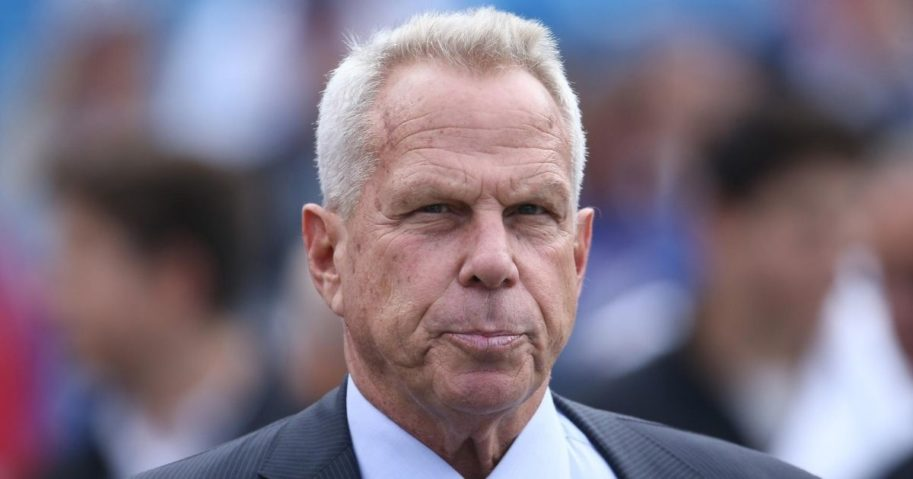 Chairman and executive vice president Steve Tisch of the New York Giants is pictured during pre-game warmups before the start of NFL game action against the Buffalo Bills at Ralph Wilson Stadium on Oct. 4, 2015, in Orchard Park, New York.