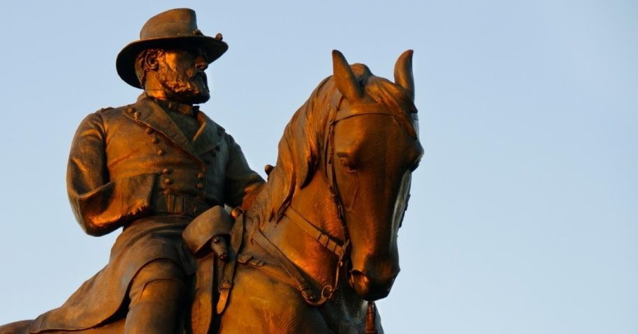 A statue of United States Army Major-General Oliver Otis Howard overlooks the Gettysburg National Military Park in Gettysburg, Pennsylvania.