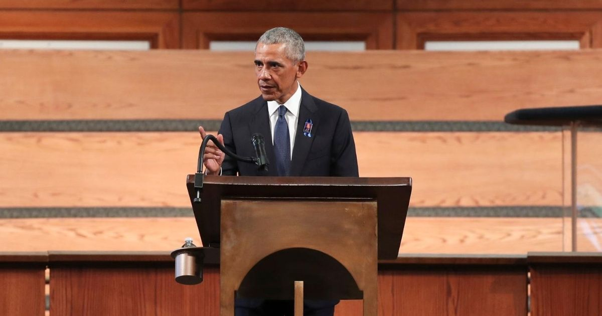 Former President Barack Obama gives the eulogy at the funeral service for the late Georgia Rep. John Lewis at Ebenezer Baptist Church on July 30, 2020, in Atlanta.