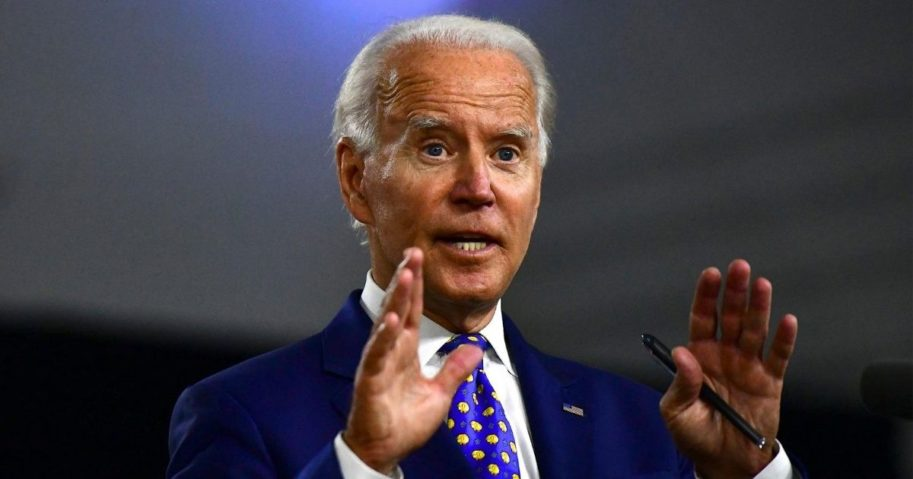 Presumptive Democratic presidential nominee former Vice President Joe Biden delivers a speech at the William Hicks Anderson Community Center on July 28, 2020, in Wilmington, Delaware.