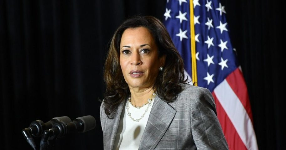 Democratic Sen. Kamala Harris of California, former Vice President Joe Biden's running mate in the 2020 presidential election, speaks at a news conference after receiving a briefing on COVID-19 in Wilmington, Delaware, on Aug. 13, 2020.