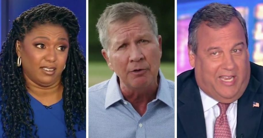 ABC News contributors Yvette Simpson, left, and Chris Christie, right, slammed former Ohio Gov. John Kasich, center, after his comments at the 2020 Democratic National Convention.