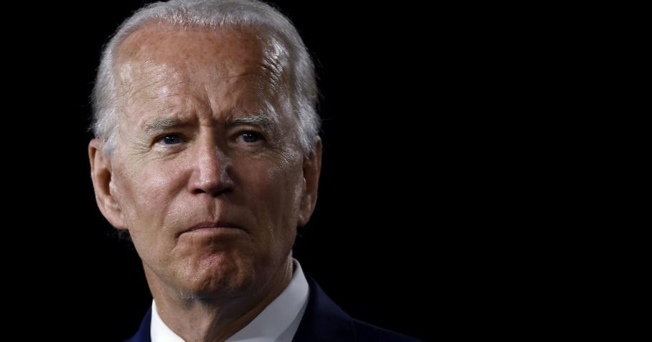 """Democratic presidential nominee Joe Biden speaks at a """"Build Back Better"""" Clean Energy event on July 14, 2020, at the Chase Center in Wilmington, Delaware."""