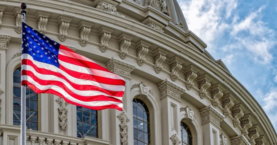 An American flag is pictured at the dome of the Capitol in Washington, D.C.