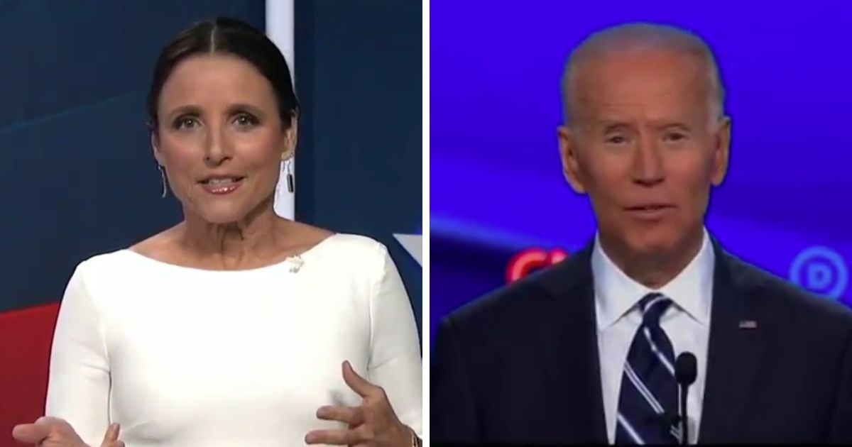 Actress Julia Louis-Dreyfus, left, speaks at the 2020 Democratic National Convention, where former Vice President Joe Biden is accepting the Democratic nomination for president.
