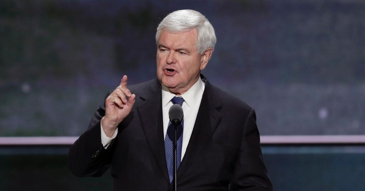 Former House Speaker Newt Gingrich addresses the 2016 Republican National Convention in Cleveland.