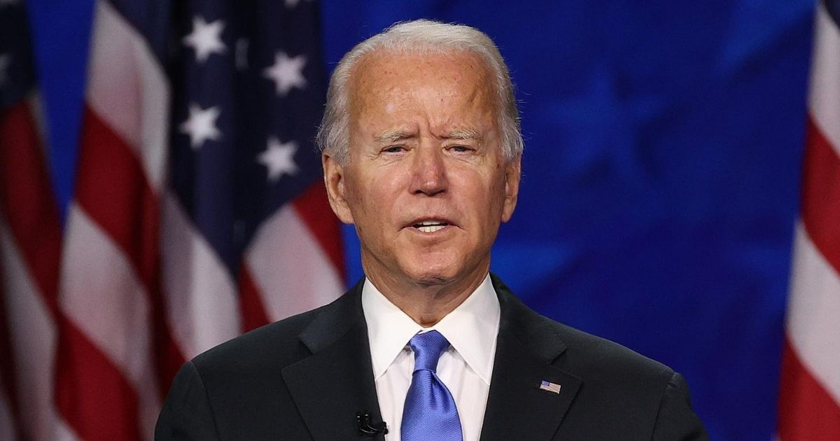 Democratic presidential nominee Joe Biden speaks on the fourth night of the Democratic National Convention from the Chase Center on Aug. 20, 2020, in Wilmington, Delaware.