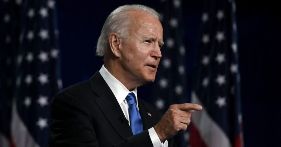 Democratic presidential nominee Joe Biden accepts the Democratic Party nomination for president during the last day of the Democratic National Convention in Wilmington, Delaware, on Aug. 20, 2020.