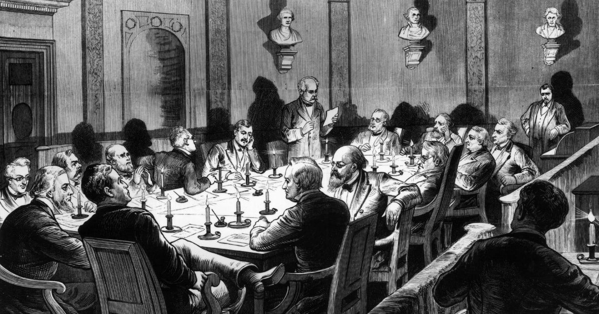 The Electoral Commission of 1877 holds a secret session by candlelight in Washington, D.C., on Feb. 16, 1877.