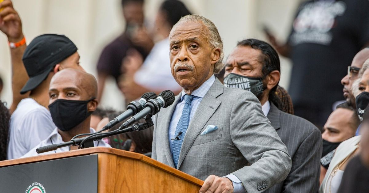 The Rev. Al Sharpton speaks at the 2020 March on Washington at the Lincoln Memorial on Aug. 28, 2020, in Washington, D.C.