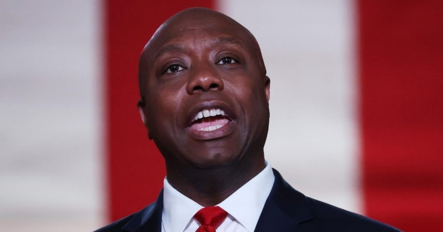 Republican Sen. Tim Scott of South Carolina stands on stage while addressing the Republican National Convention at the Mellon Auditorium on Aug. 24, 2020, in Washington, D.C.