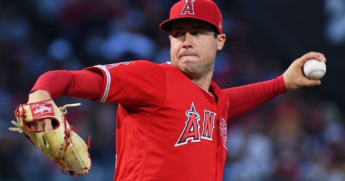 Los Angeles Angels pitcher Tyler Skaggs throws against the Texas Rangers in Anaheim, California, on May 25, 2019. Skaggs, 27, died in a Texas hotel room on July 1.