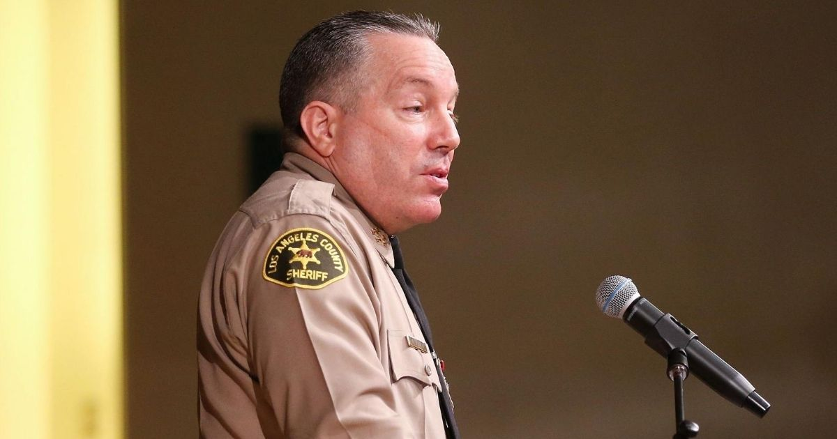 Los Angeles County Sheriff Alex Villanueva speaks at the graduation ceremony for the Los Angeles County Sheriff's Department at East Los Angeles College on Aug. 21, 2020, in Monterey Park, California.
