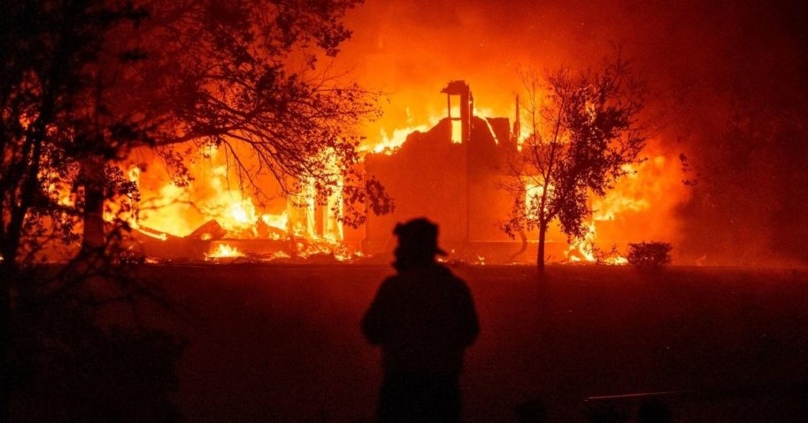 A home burns in Vacaville, California, during the LNU Lightning Fire on Aug. 19, 2020.