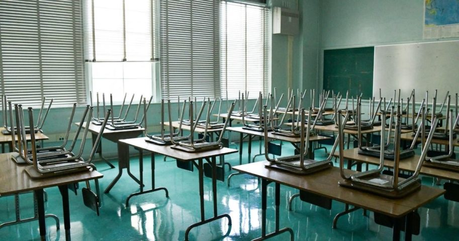 An empty classroom is seen at Hollywood High School on Aug. 13, 2020, in Hollywood, California.