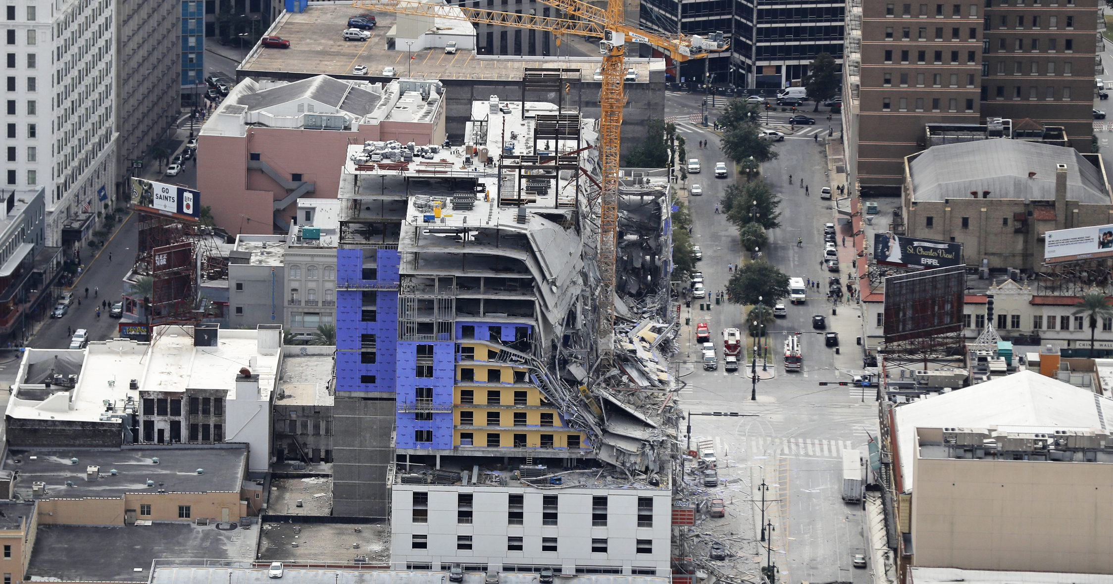 This Oct. 12, 2019, file photo shows the Hard Rock Hotel after a partial collapse in New Orleans that killed three construction workers. Crews on Aug. 8, 2020, recovered the body of one of two workers who had been trapped in the collapse nearly 10 months ago.