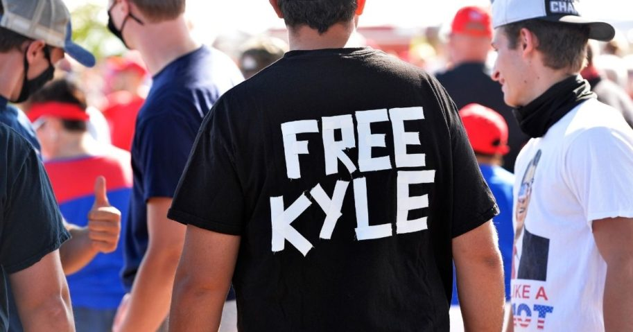A man wears a shirt calling for freedom for Kyle Rittenhouse, the teenager who allegedly shot rioters in Wisconsin, during a Trump campaign rally in Londonderry, New Hampshire, on Aug. 28, 2020.