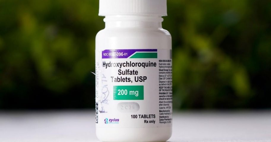 This April 7, 2020, file photo shows a bottle of hydroxychloroquine tablets in Texas City, Texas.
