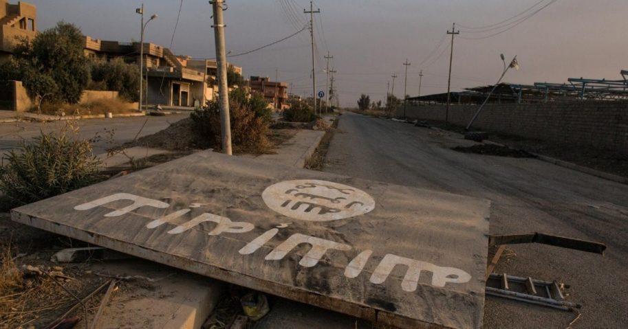 An IS billboard is seen destroyed on Nov. 8, 2016, in Qaraqosh, Iraq. (An IS billboard is seen destroyed on Nov. 8, 2016, in Qaraqosh, Iraq.