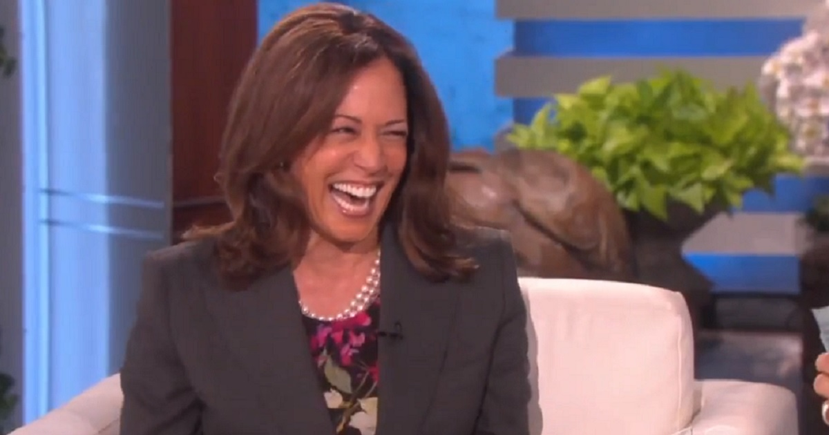 """California Sen. Kamala Harris laughs after joking about killing President Donald Trump or members of his administration during a 2018 interview on """"Ellen."""""""
