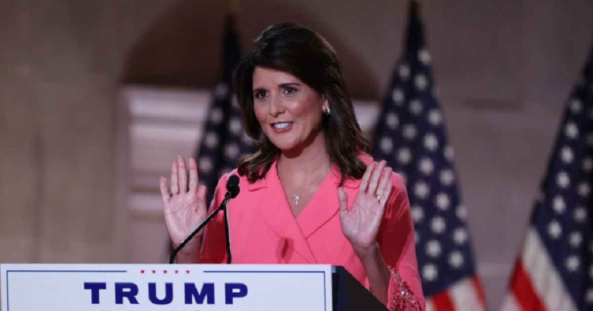 Former United Nations and South Carolina Gov. Nikki Haley addresses the Republican National Convention by remote from the Mellon Auditorium in Washington on Monday.