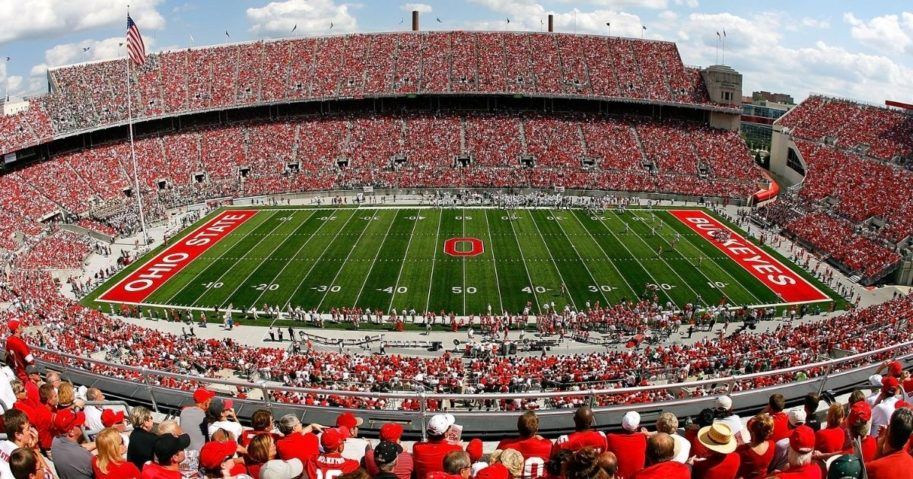 A general view of Ohio Stadium during a game between the Ohio State Buckeyes and the Ohio Bobcats on Sep. 6, 2008, in Columbus, Ohio.