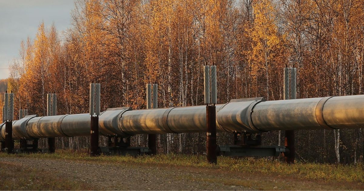 A part of the Trans Alaska Pipeline System is seen on Sept. 17, 2019, in Fairbanks, Alaska. The 800-mile-long pipeline carries oil from Prudhoe Bay to Valdez.