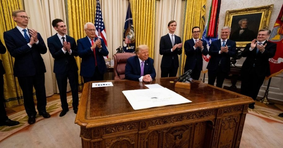 President Donald Trump leads a meeting with leaders of Israel and the UAE announcing a peace agreement in the Oval Office of the White House on Aug. 13, 2020, in Washington, D.C.